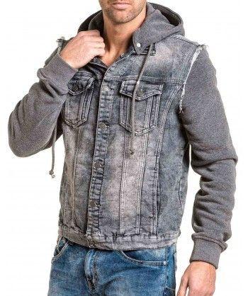 BLZ Jeans - Veste homme grise bi-matière jean et sweat à capuche ... aa5bdb16fc73