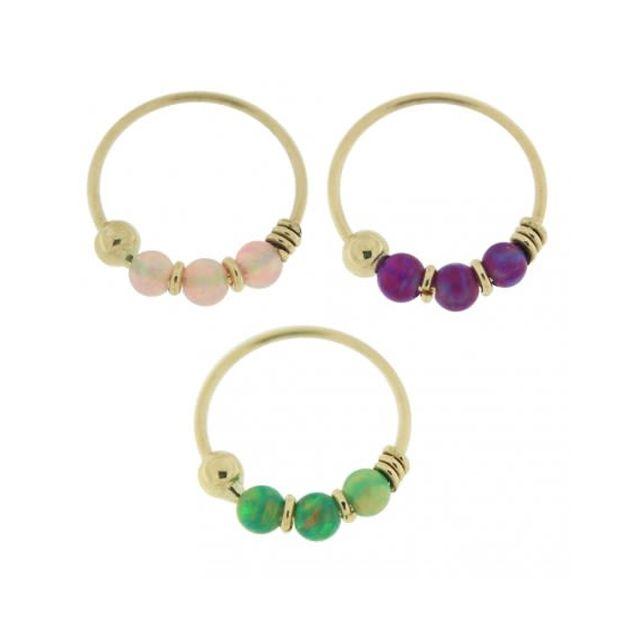 Sans Marque Bijou Piercing Coffret 3 Pièces Bague De Nez Cerceau Avec Pierres Opale Rose Violet Vert | Or Jaune Massif 9 carats