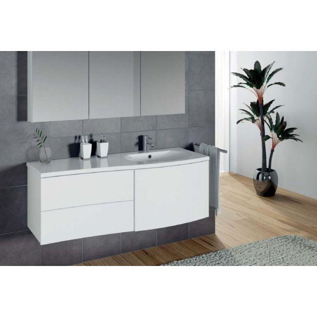 Riho Ensemble meuble & lavabo Celano Set 05 en bois laqué brillant 130x48 H 48 cm
