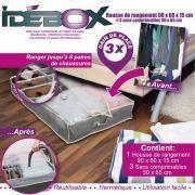 Idebox - Housse de rangement lit 90x60x15 + 3 sacs comprimables