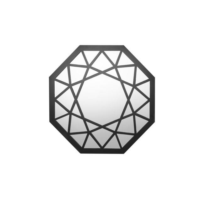 BELIANI Miroir octogonal noir LITHAIRE - argent