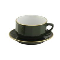 les 6 tasses et soucoupes à café moka empilables Vert Empire filet Or-Flora par Apilco