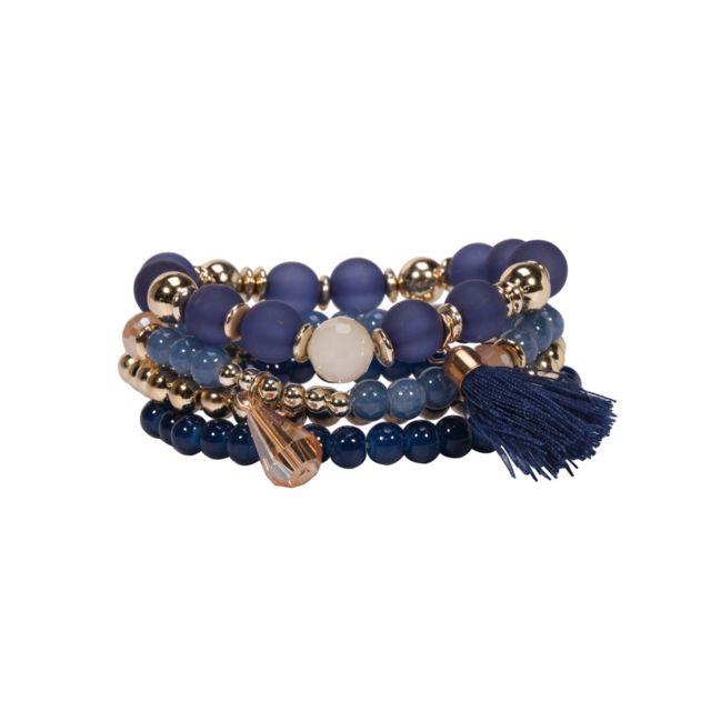 Blue Pearls - Lot de 4 Bracelets Fantaisie Femme en Perles et Cristal Bleu  - Bps 1e432eb61c8d