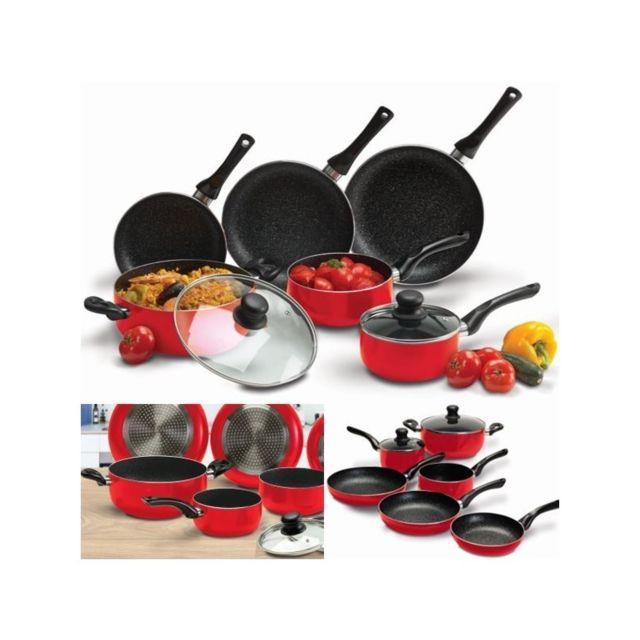 de545c25ba0e10 ProBache - Batterie de cuisine 8 pcs pierre rouge avec casserole poêle  couvercle