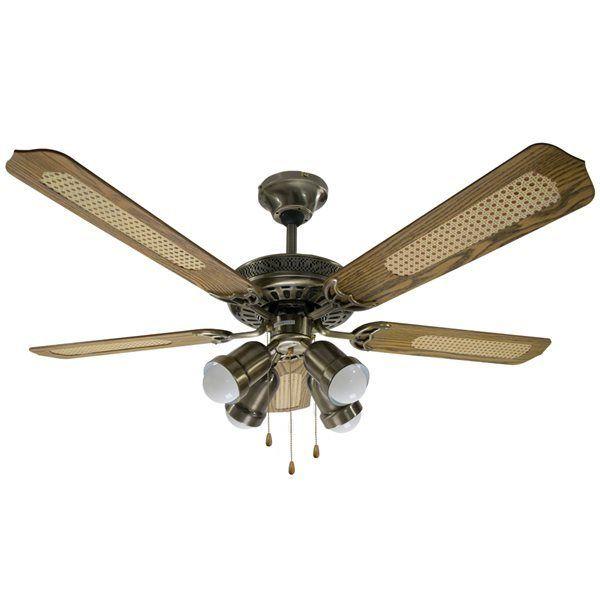rovex ventilateur de plafond 130 cm 4 lumi res et 5 pales reversible bronze et bois pas. Black Bedroom Furniture Sets. Home Design Ideas