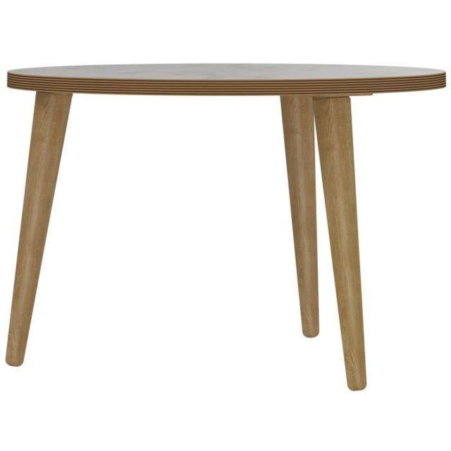BOUT DE CANAPE ROCK Table basse ronde scandinave effet marbre - Ø 60 cm