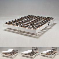 No Name - Ensemble 2 sommiers relaxation électrique Flexpalace 80x200 cm tête et pieds relevables / Blanc