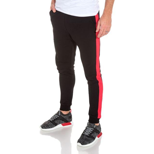 blz jeans pantalon de jogging noir bande lat rale rouge. Black Bedroom Furniture Sets. Home Design Ideas