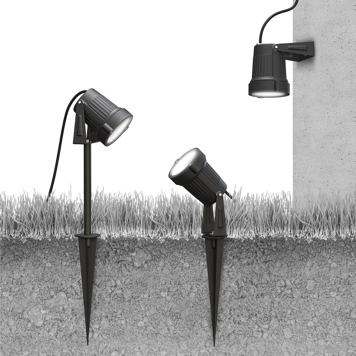 3x Spots LED connectés de Jardin avec alimentation secteur - Blanc & Couleur