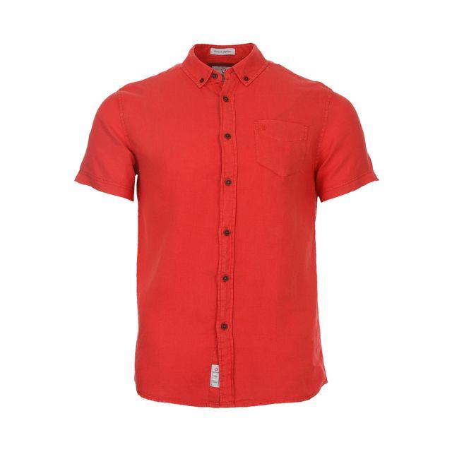 Bermudes Chemise droite manches courtes Eroy en lin rouge brique