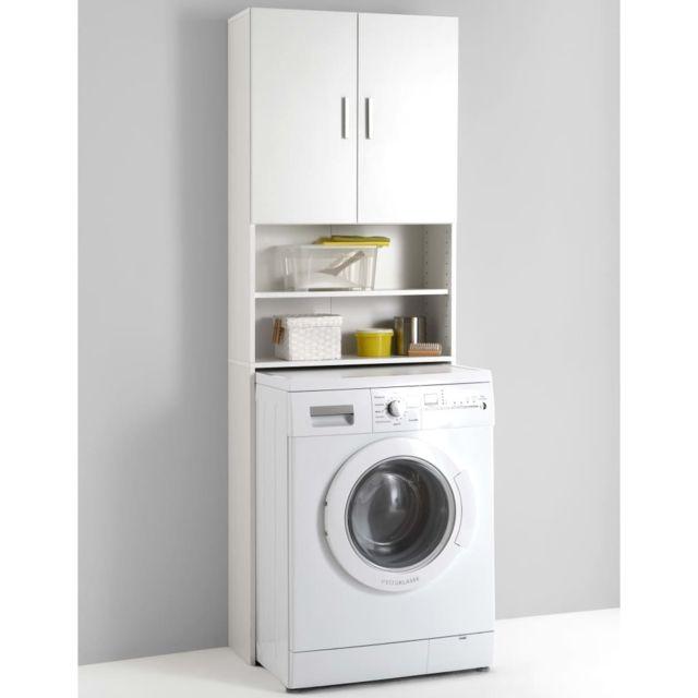 Fmd Meuble Pour Machine A Laver Avec Espace De Rangement Blanc 913 001 Achat Lave Linge