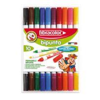 Fibracolor - feutres double pointes coloris assortis - etui de 10