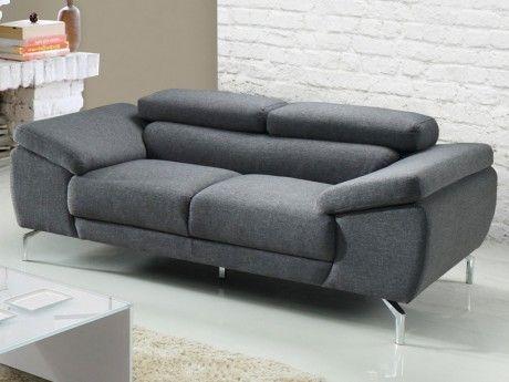 Linea Sofa Canapé 2 places en tissu Gretel - Gris