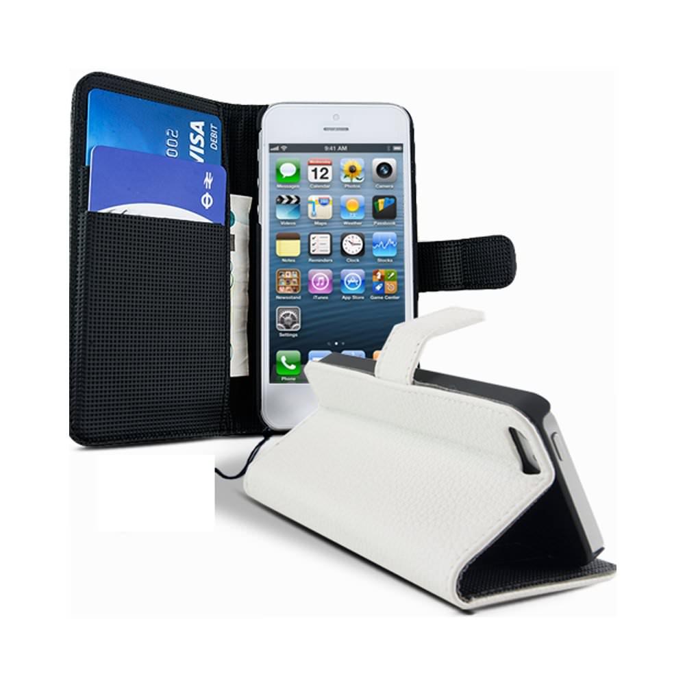 Lapinette - Etui Housse Portefeuille Pour Apple Iphone 5c + Film - Blanc