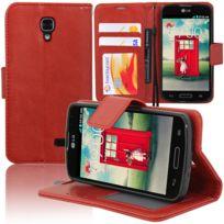 Vcomp - Housse Coque Etui portefeuille Support Video Livre rabat cuir Pu pour Lg F70 D315/ Lte - Rouge