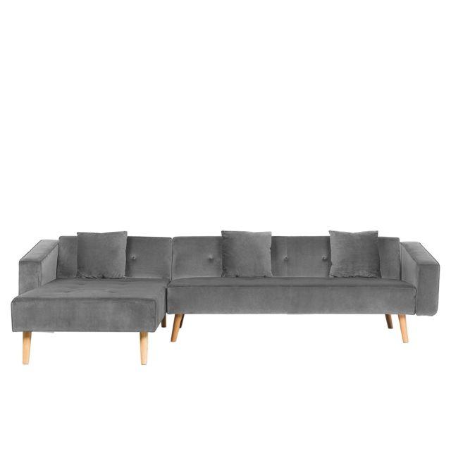 BELIANI Canapé d'angle côté droit en velours gris VADSO - gris