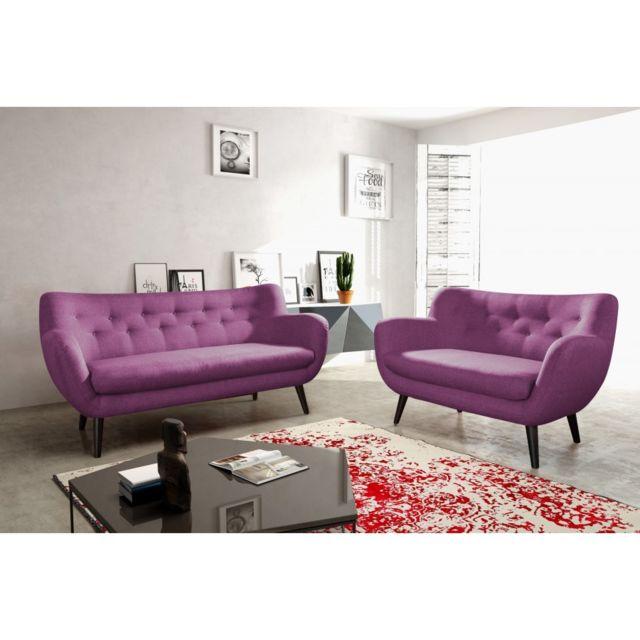 Rocambolesk Canapé Adele 3+2 sawana 70 prune avec pieds noir sofa divan