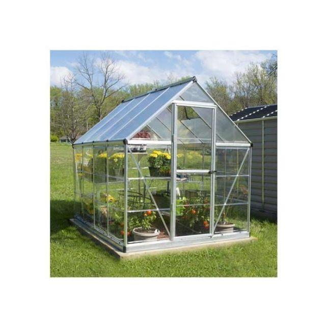 Palram serre de jardin en polycarbonate hybrid 4 57 m couleur argent ancrage au sol non - Serre de jardin carrefour ...