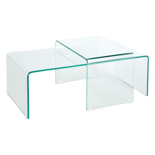 COMFORIUM Lot de 2 tables basses en verre de sécurité coloris transparent