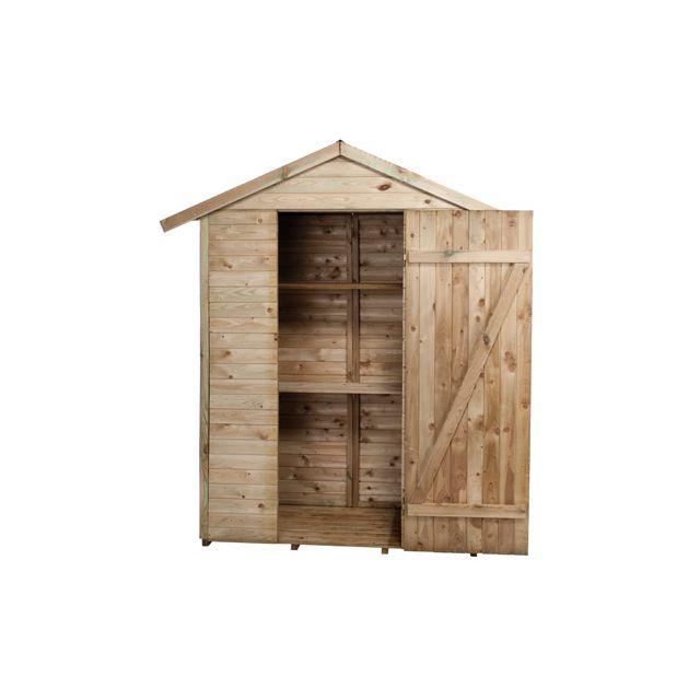 Abri de jardin à étagères en bois Léo 150x70x220cm - pas cher Achat ...