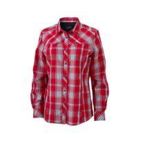 James   Nicholson - chemise trekking manches longues à carreaux - Jn579 -  Femme - rouge b6e5c4a5e2f0