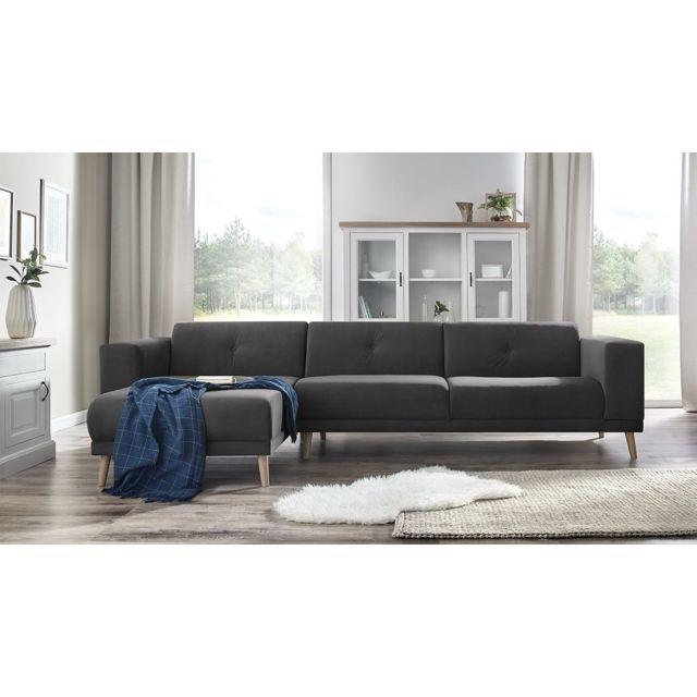 BOBOCHIC - LUNA - Canape d'angle gauche + Pouf - Gris foncé - 6 places - 95cm x 75cm x 308cm 308cm x 75cm x 95cm