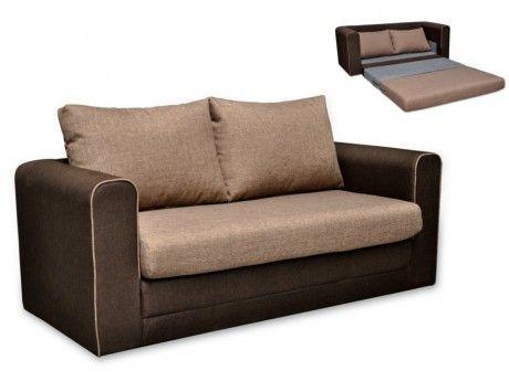 Canapé 2 places convertible en tissu DANUBE - Chocolat et Beige avec passepoil beige