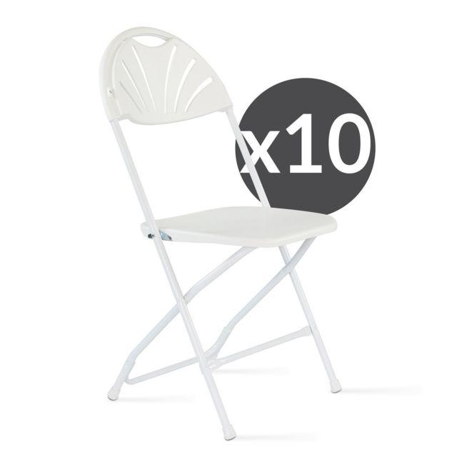 mobeventpro lot de 10 chaises pliantes blanc pas cher achat vente chaises de jardin. Black Bedroom Furniture Sets. Home Design Ideas