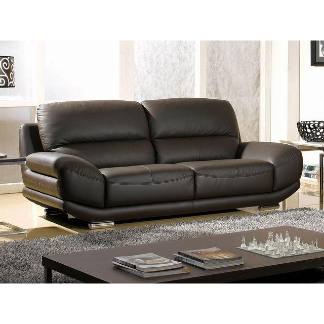 la maison du canap canap cuir 3 places barcelona marron 97cm x 89cm x 216cm achat vente. Black Bedroom Furniture Sets. Home Design Ideas