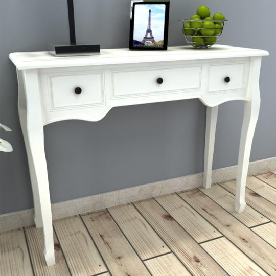 Vidaxl - Coiffeuse en bois blanche avec trois tiroirs