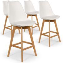MENZZO - Lot de 4 chaises hautes scandinaves Bovary Blanc