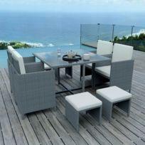 8 Places - Ensemble encastrable salon / table de jardin résine tressée - Gris / Ecru - Model Tunga 8
