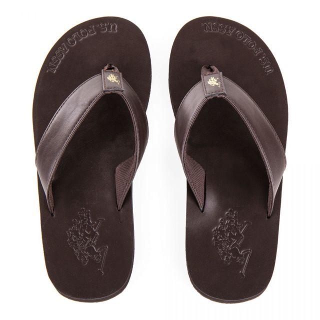 80ca7415073 Us Polo - Tongs en simili cuir marron homme - pas cher Achat   Vente  Sandales et tongs homme - RueDuCommerce