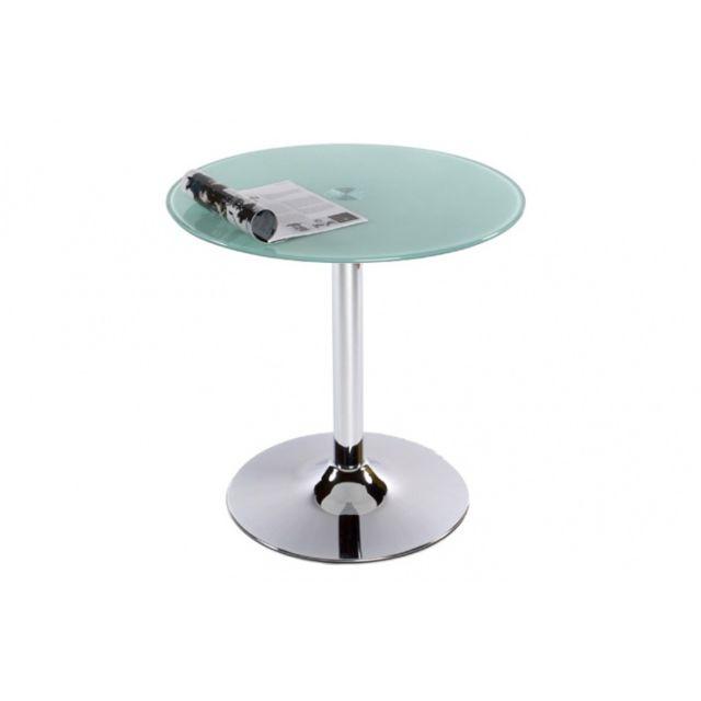 Declikdeco Table Basse Verre Ronde Opaque Transparent