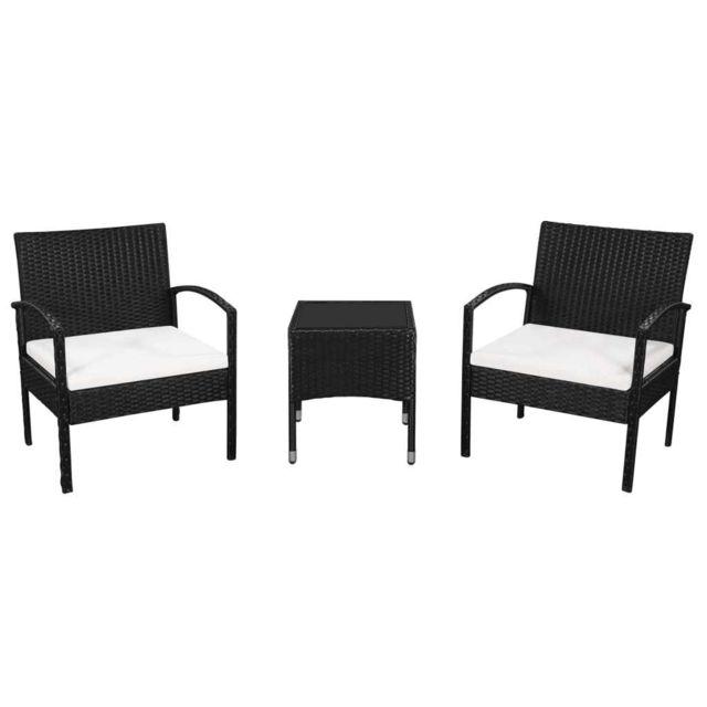 VIDAXL Mobilier de bistro d'extérieur 5 pcs Rotin Noir et blanc crème - Meubles/Meubles de jardin/Ensembles de meubles d'extéri
