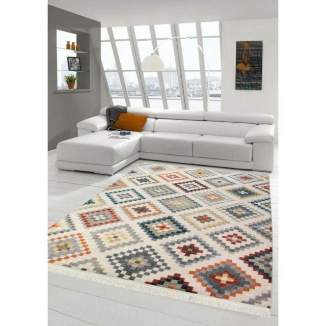 Alya Tapis Tapis de salon déco - Kilim - Design moderne -multicolore - 120 X 170 cm