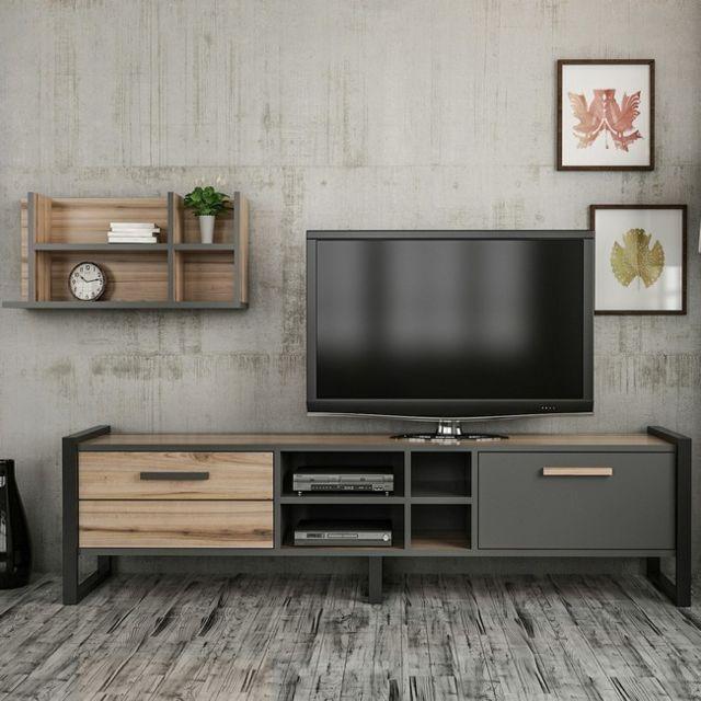 Meuble Tv Leno Moderne - avec Portes, Étagères - pour Salon - Noyer,  Anthracite en Bois, Métal, 184 x 39 x 45 cm