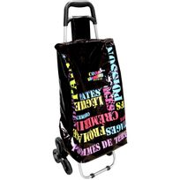 Promobo - Chariot De Courses Shopping A Roulettes Collection Luxe Pop Art Mot 6 Roues