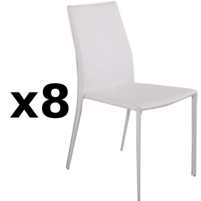Inside 75 Lot de 8 chaises design Polo en tissu enduit polyuréthane simili façon cuir blanc