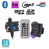 Yonis - Transmetteur Fm Bluetooth t_Ecute_l_Ecute_commande voiture kit main libre 16 Go