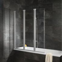 Pare-baignoire Komfort, paroi de baignoire avec 3 volets pivotants, 125 x 130 cm, verre transparent, profilé alu argenté