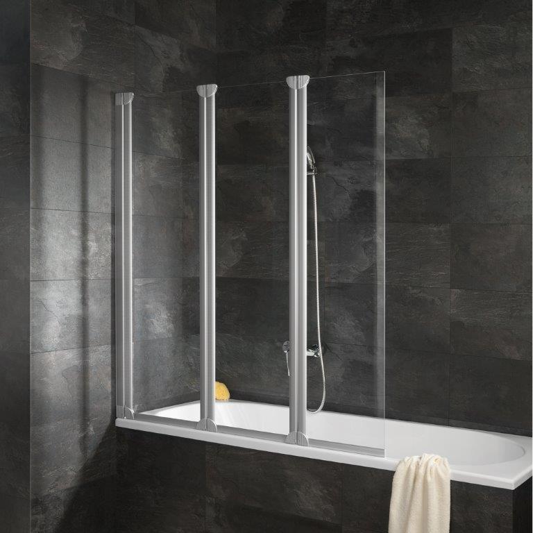 Pare-baignoire Komfort, paroi de baignoire avec 3 volets pivotants, 125 x 130 cm, verre transparent, profilé blanc