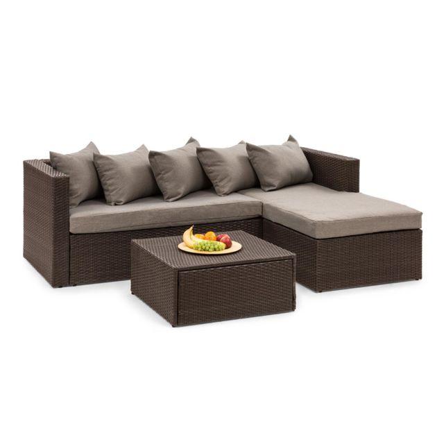 BLUMFELDT Theia Lounge Salon de jardin complet polyrotin marron