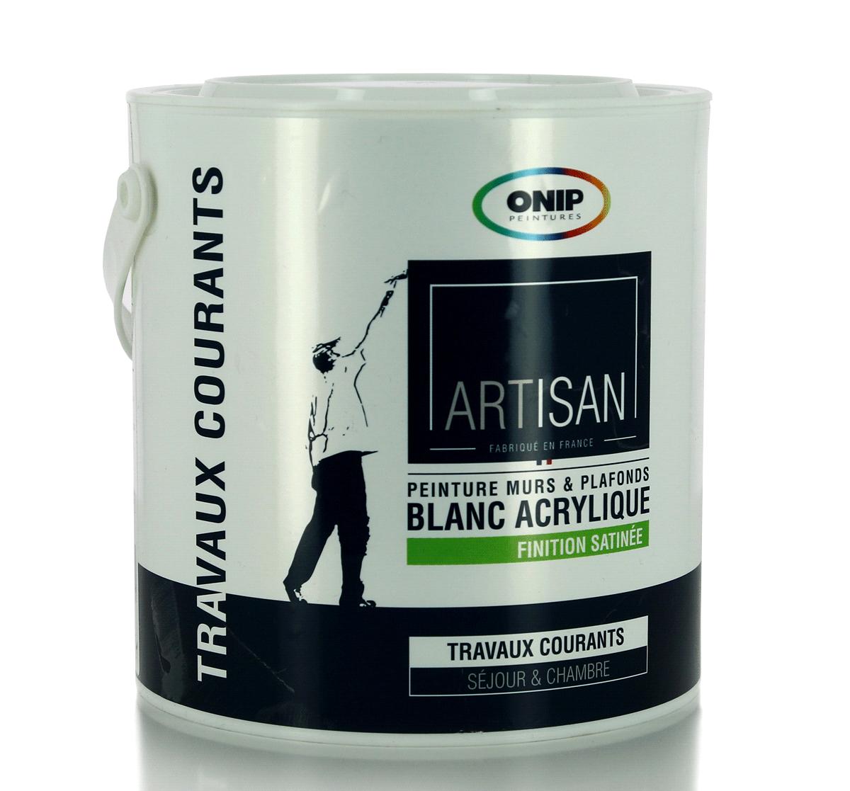 onip peinture acrylique blanche bicouche satin e 10l pas cher achat vente peinture. Black Bedroom Furniture Sets. Home Design Ideas