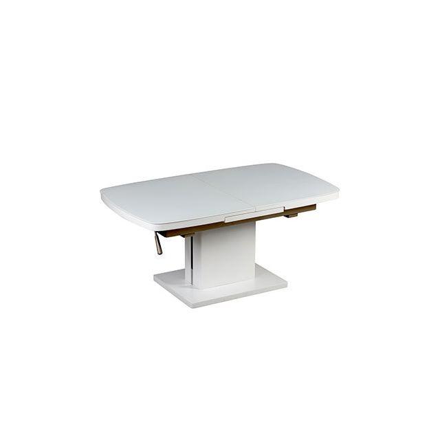 Table basse relevable extensible 120/155 x 70cm en verre et blanc laqué