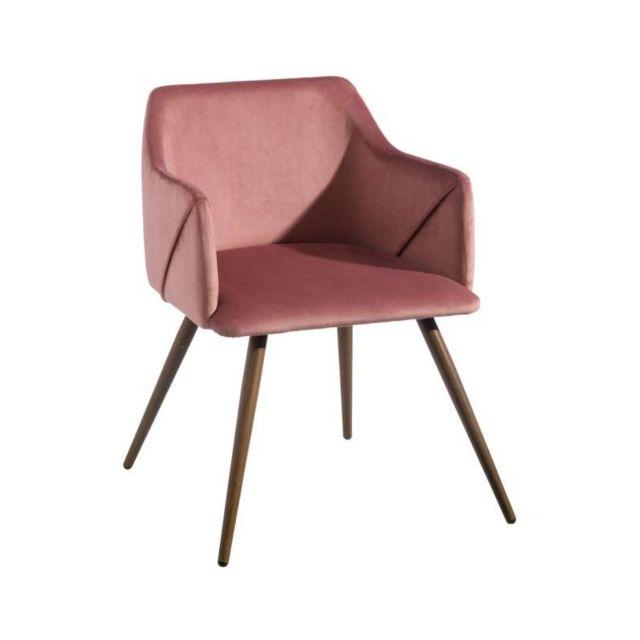 Lot de 2 fauteuils en tissu rose Elisa L 54 x l 52 x H 74