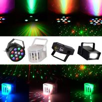 Mydj - Pack fiesta 4 Jeux lumière - Projecteur Rgbw + Laser + Stroboscope + DerbyKolor
