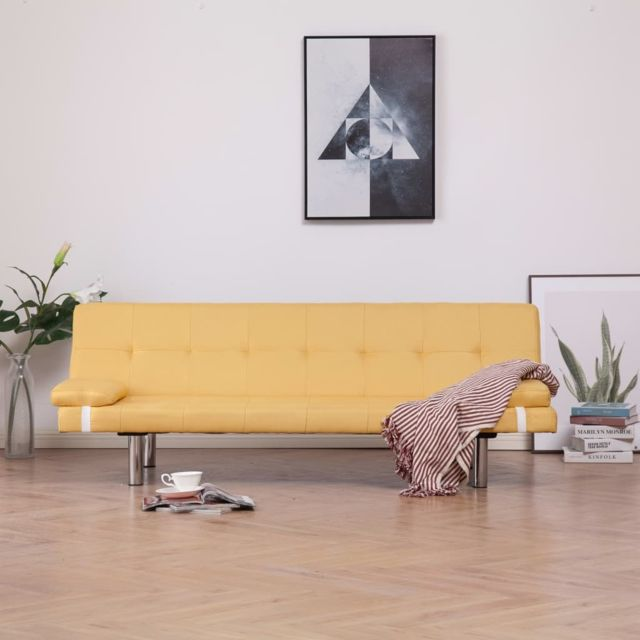 Vidaxl Canapé-lit avec deux oreillers Jaune Polyester