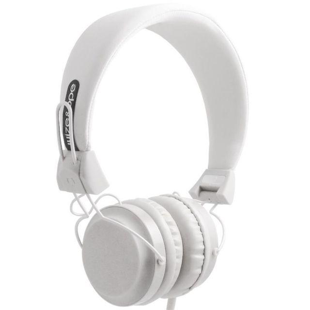 Wize & Ope Casque Audio Blanc avec microphone et télécommande Casque filaire Wize & Ope Blanc avec microphone et télecommande (marche/arret, suivant, précédent).Prise mini jack compatible avec un grand nombre de téléphones portables (tel que iPhone, Htc,