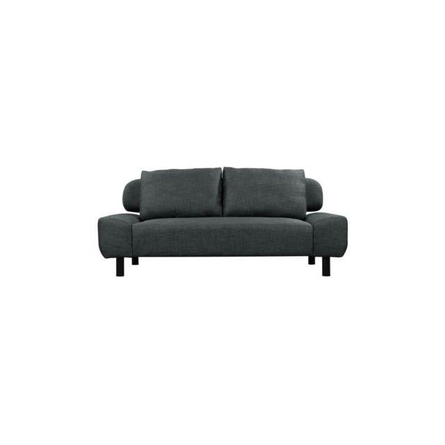 Sans Marque Eliot Banquette Clic-clac Convertible 2 Places - Tissu Gris - Style Contemporain - L 186 X P 93 Cm